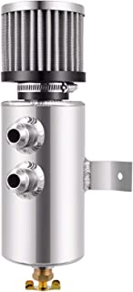 Universal Aluminium Baffled Engine Oil Catch Can 2x AN10 Twin Port Breather Filter Polished (Polished)