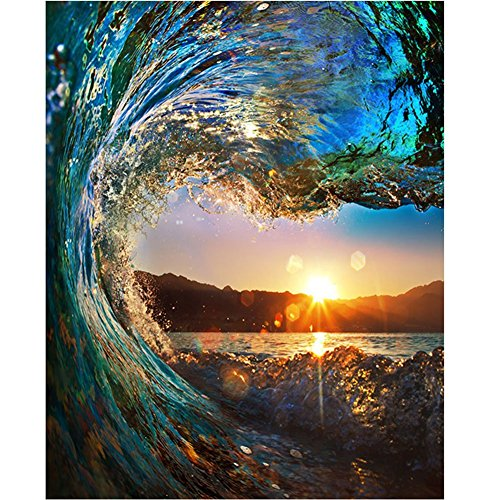 DreamsyUS DIY Oil Paint by Number Kit,Painting Paintworks Sunset Wave Seascape Drawing with Brushes 16x20 inch Christmas Decor Decorations Gifts(Without Frame)