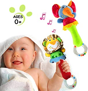 CHAFIN Baby Soft Rattles Shaker , Infant Developmental Hand Grip Baby Toys , Cute Stuffed Animal with Sound for 3 6 9 12 Months and Newborn Gift(2 Pack)