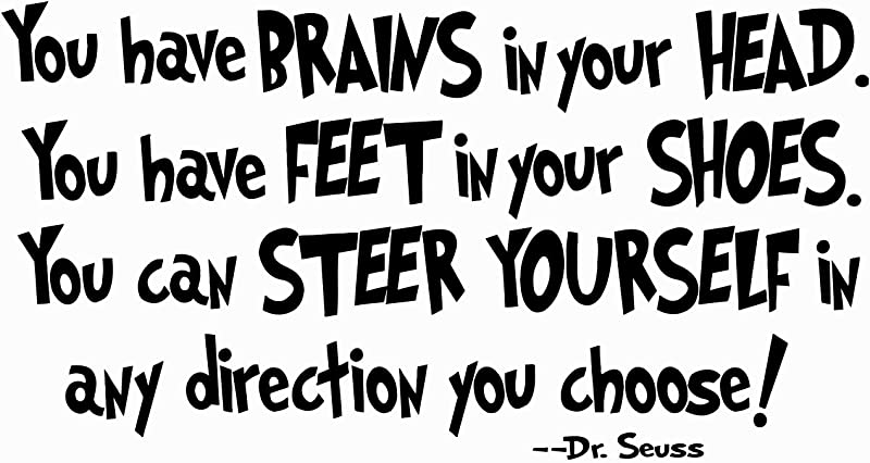 Quote Wall Decal Dr Seuss Vinyl Sticker Decals Quotes You Have Brains In Your Head Decal Quote Sayings Wall Decor Nursery Baby Room X248