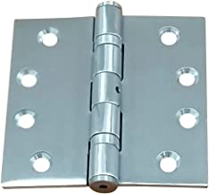 Hinge Outlet Commercial Grade Ball Bearing Door Hinge 4 Inch Square Full Mortise Stainless Steel, 2 Pack, Highly Rust Resistant