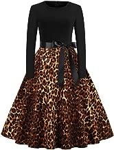 Corsion Women Leopard Print Dress Ladies O-Neck Audrey Hepburn Skirt Party Dress
