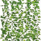 Homvik Plantas Hiedras Enredaderas Artificiales 12Pcsx2.2m Plantas Colgantes Artificiales Guirnalda para Decoración Exterior Boda Hogar Seto Jardín Escalera Ventana Balcón Valla Mesa Fiesta Interior