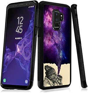 Smoking Old Man Samsung Galaxy S9 Plus Case TPU Black Shockproof Slim Anti-Scratch Protective Rugged Case Non-Slip Grip Cover for Samsung Galaxy S9 Plus
