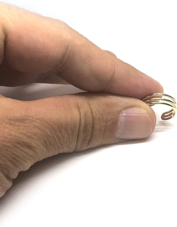14K Yellow Gold Triple Bar Adjustable Toe Ring 6.5mm