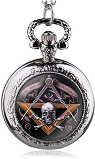 New Antique Vintage Skull Masonic Pocket Watch Retro Bronze Pendant Necklace Quartz Watches Men Gifts Yang (Color : Bronze)