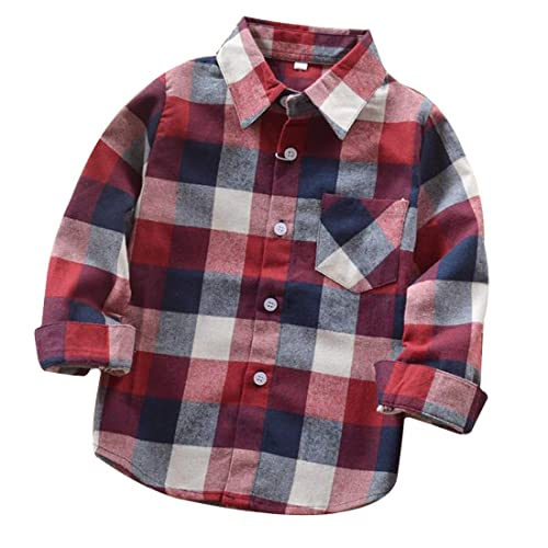 Yinggeli Kids Toddler Boys Long Sleeve Button Down Plaid Shirts