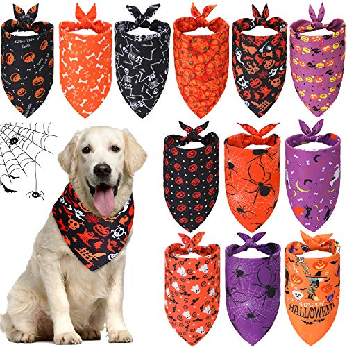 Geyoga 12 Pieces Halloween Dog Bandanas Triangle Bandana with Pumpkin Ghost Spider Witch Hat Printed for Halloween Pet Costume Accessories Decoration