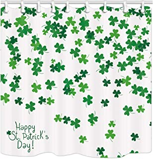 JAWO St. Patrick's Day Clover Shower Curtain, Green Clover Falling on White Bath Curtain Set with Shower Hooks, 69x70Inches