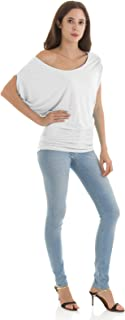 H2H Womens Fashion Comfortable Fit T-Shirts Dolman Boat Neck Top Solid Colors Basic Designed