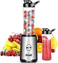 Smoothie Mixer SCIJOY Standmixer für Milchshakes und Juice Shakes, Blender elektrisch, Kleiner Mixer mit 2 Tritan BPA-Freien 600ml Mixbechern und Reinigungsbürste, EU Plug, 350W Smoothie maker