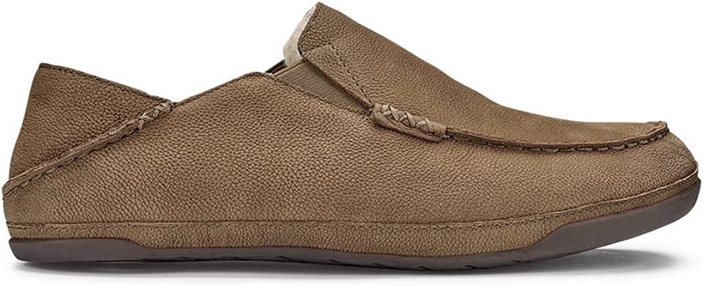 OluKai Kipuka Hulu Men's Leather Slippers, Premium Nubuck Leather Slip On Shoes, Shearling Lining & Gel Insert for Maximum Comfort, Drop-In Heel Design