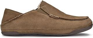 OluKai Kipuka Hulu Men's Leather Slippers, Premium Nubuck Leather Slip On Shoes, Shearling Lining & Gel Insert for Maximum...