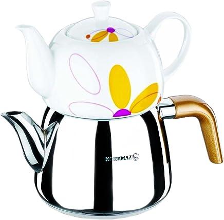 Preisvergleich für Korkmaz Teekanne Teekocher Caydanlik Hochwertiger Edelstahl Porzellan Teekannen-Set