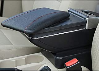 MyGone Car Center Console Armrest for Hyundai Accent Solaris 2011-2015 2012 2013 2014 2015 Storage Box Accessories, Arm Rest, with Cup Holder, Removable Ashtray, Black Red