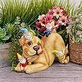 TERESA'S COLLECTIONS Hund Gartenfiguren mit 4 Gartenzwerge 22cm Kunstharz Wetterfest Gartendeko Figuren Feengarten für Außen Terrasse Garten Rasen Haus oder Tür MEHRWEG Verpackung