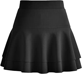 Afibi Casual Mini Stretch Waist Flared Plain Pleated Skater Skirt
