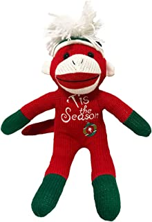 Sock Monkey Plush by ColorBoxCrate 12 inch Red Sock Monkey with Tis the Season and Ornament Stitching - Green Sock Monkey Hands and Feet with Green Pom Pom Tossle Cap - Stocking Stuffer Christmas Gift