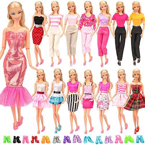 Miunana Lot 15 = 5 Fashion Kleider mit 10 Paar Schuhen Partymoden Kleidung für 11,5 Zoll Mädchen Puppen