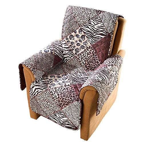 "vivaDOMO Wende-Sesselschoner ""Safari"", Sesselüberwurf Sofaschoner Sesselbezug Schutzbezug Armlehnenschoner, Polyester, 179 x 165 cm"