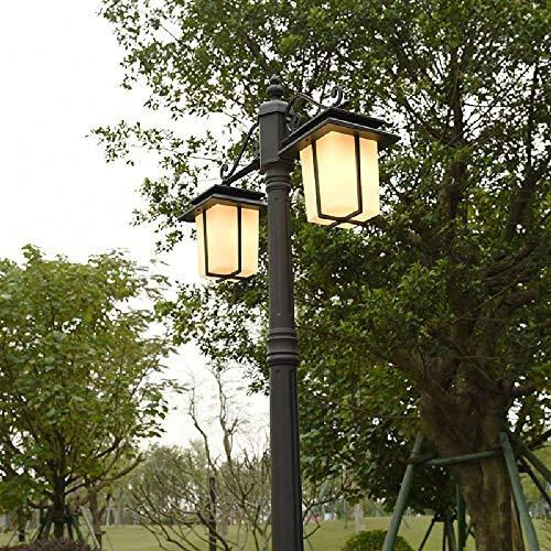 FZYE 2 luci E27 Edison Nero in Alluminio da Giardino palo Alto lampione da Esterno Lampada da Colonna Illuminazione paesaggistica Impermeabile Illuminazione Esterna Villa Decorazione pr