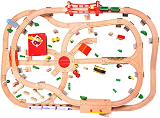 Wooden Railway Set (Vehicles, Construction, 130 Pieces) Kids Toys Deluxe Wooden Train Set,Railway Set,Best Gifts for Kids ...