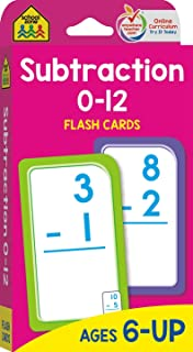 School Zone - Subtraction 0-12 Flash Cards - Ages 6 and Up, 1st Grade, 2nd Grade, Numbers 0-12, Math, Problem Solving, Sub...