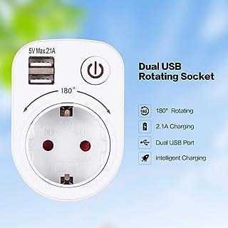 WOSOSYEYO 5V 2.1A eléctrico con Doble Puerto USB Cargador
