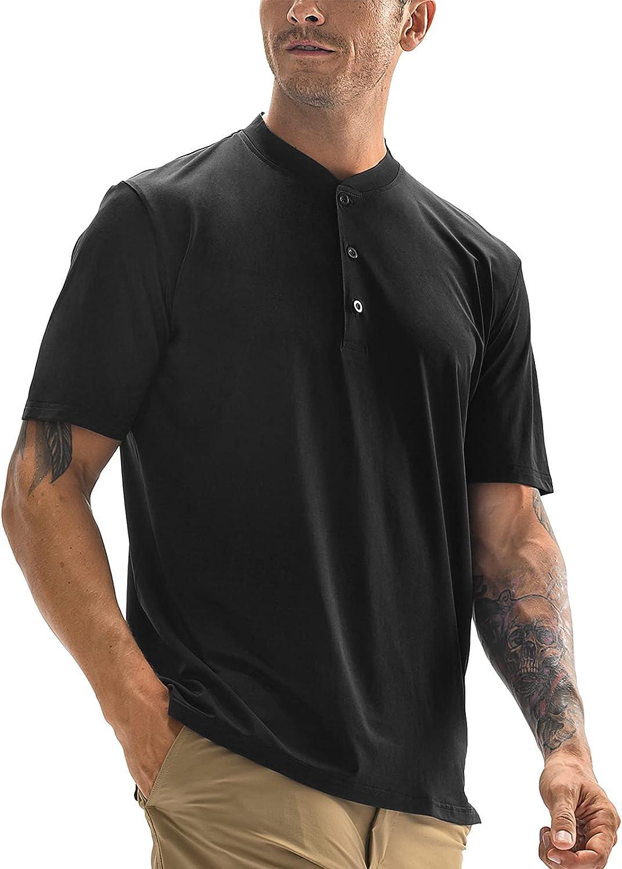 MIER Men's Short Sleeve Henley T-Shirt Quick Dry Collarless Casual Tee Shirts, Button Placket