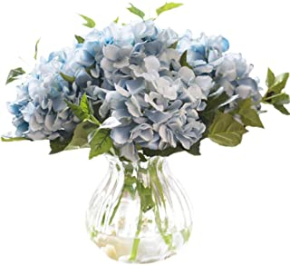 Greentime Pack of 3 Artificial Hydrangea Flowers Faux Silk Bouquet Flowers Fake 17.7 Inches Hydrangea Stems for Party Home Wedding Centerpiece Decor (Blue)