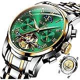 Automatic Mens Watch Self Winding Mechanical Luxury Dress Wrist Watch Moon Phase Day Date Waterproof Luminous Stainless Steel Watches Gifts