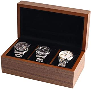 BingYes Wood Watch Box,with Ring Storage Bag Vintage Handmade Watch Box for Men/Women Watches (3 Slot)