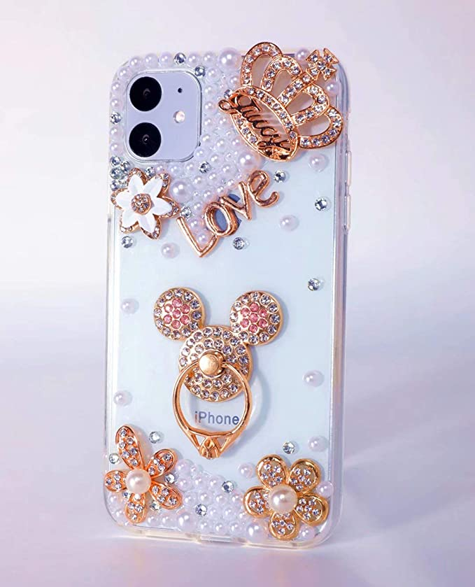 Clear Amocase Wallet Case with 2 in 1 Stylus for iPhone 11 6.1 2019,Luxury 3D Handmade Square Diamond Crystal Rhinestone Bowknot Magnetic Stand Leather Case for iPhone 11 6.1 2019
