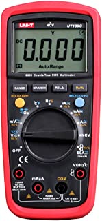 UT139C UNI-T True-Rms Digital Multimeter with Temperature Display Count 6000 Display Count 6000, DC Current from 600Ua to 10A