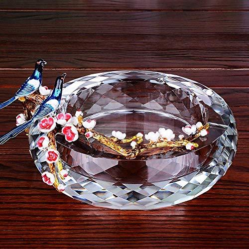 RMCF Porta Cigarrillos Cabina esmaltada Cenicero de Cigarrillos Cenicero de Cristal con 2 pájaros Decoración Cenicero para Fumar en la Puerta Interior Sala de Estar Decoraciones de Oficina