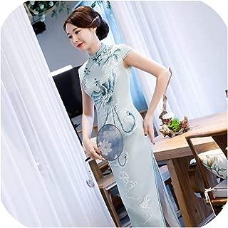 Hengheng-shop Pink Phoenix Qipao Evening Dresses Lady Rayon Satin Cheongsam Traditional Chinese Painted Phoenix Dress
