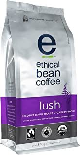 Lush Ethical Bean Coffee: Medium Dark Roast Whole Bean Coffee - USDA Certified Organic Coffee, Fair Trade Certified - 12 oz Bag (340 g)