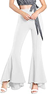 Comaba Womens Elegant Fashion High Waist Elastic Longline Bell-bottoms