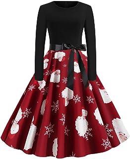 FAMILIZO Vestidos Navidad Mujer De La Navidad De Manga Larga O Cuello De Impresión Vintage Vestido De Fiesta De La Noche V...