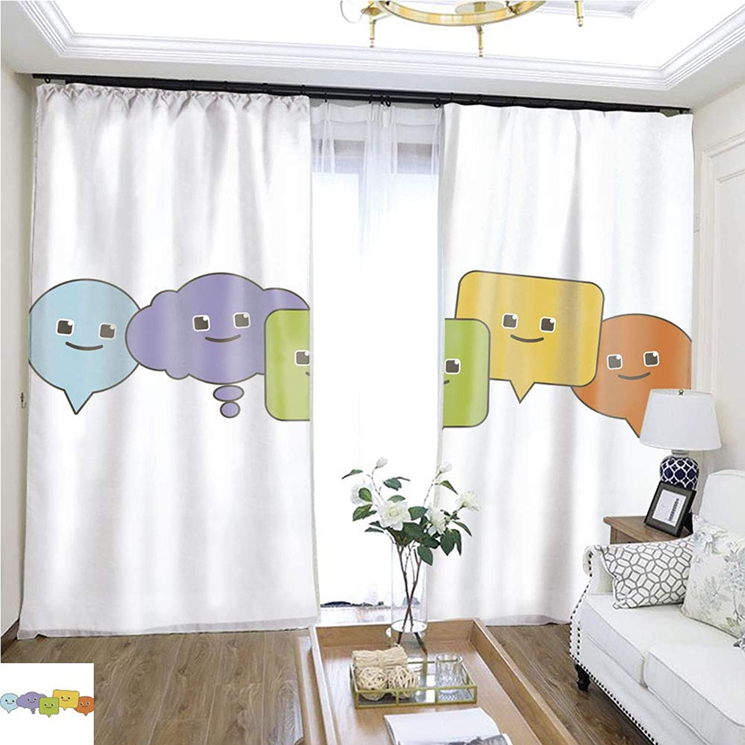Air Port Screen Cute Speech Bubbles W96 x L288 Block The Sun Highprecision Curtains for bedrooms Living Rooms Kitchens etc.