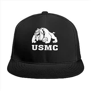 Unisex Flat Punk Hip Hop Baseball Cap Marine Bulldog-USMC Adjustable Visor Snapback Hat Black