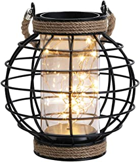 JHY Design Metal Cage LED Lantern Battery Powered,7.3