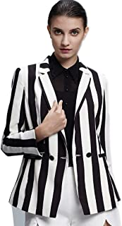 Beetlejuice Costume Black and White Striped Leisure Blazers Jacket Suit