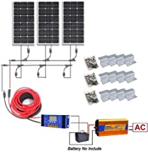 12 Volts 300 Watts Complete Solar Kit: 3pcs 100W Solar Panel + 1KW Pure Sine Wave Inverter + 32Ft Solar Cable Adapter + 30A PWM Charge Controller + Y Branch MC4 Connectors + Z Brackets