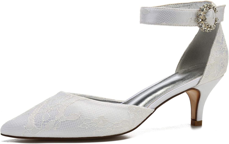LLBubble Women Kitten Heels Lace Wedding Bridal shoes Pointed Toe Ankle Strap Buckle Low Heels Wedding Party Dress Pumps 99634-13C