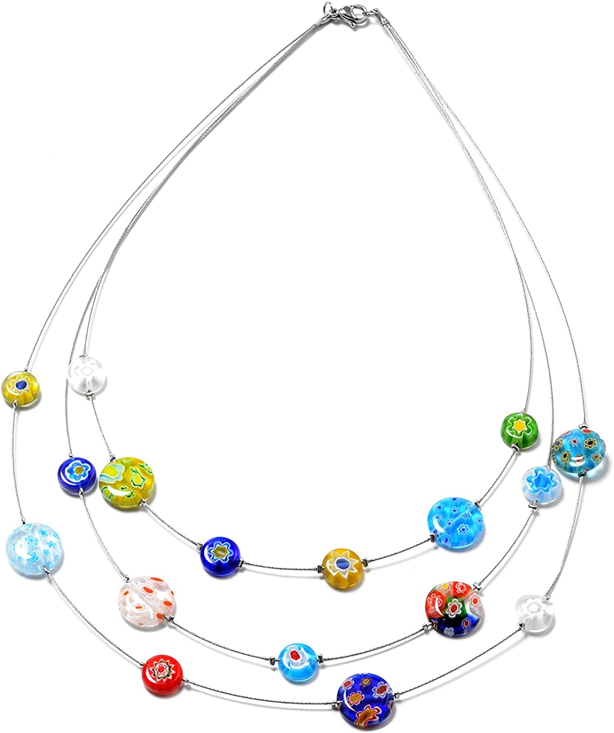 Shop LC Stainless Steel Murano Millefiori Glass Multicolor Bead Station Multi Strand Drape Layered Beaded Choker Necklace Delicate Jewelry for Women 18