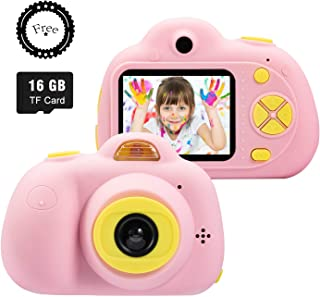 SeeKool Cámara Digital para niños2 Objetivos Selfie 18 Millones de Pixels Cámara Digital 1080P HD Video Zoom Digital 4X Flash Lights 2 LCD Batería Recargable con 16GB Tarjeta de Memoria (Rosa)