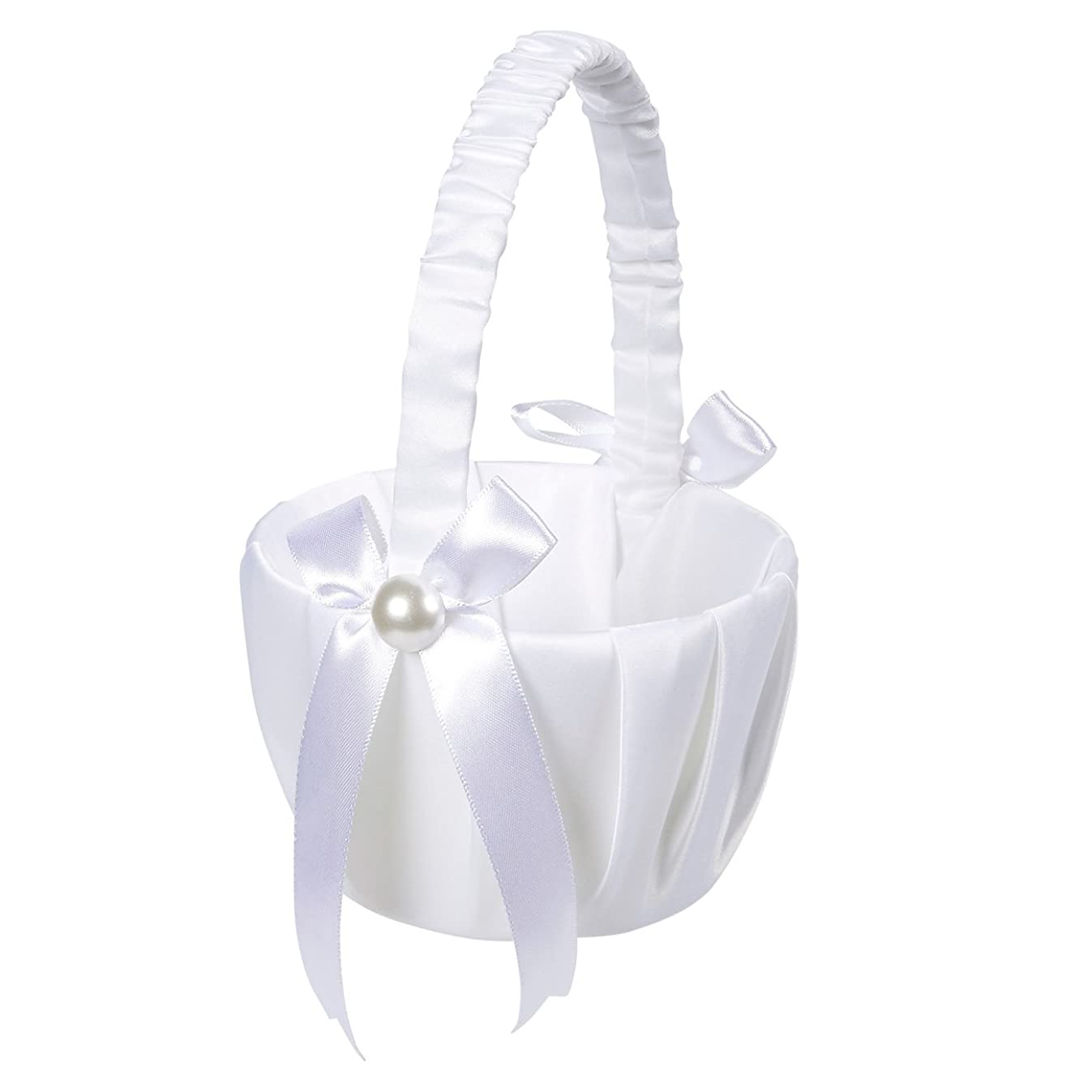 Juvale Flower Girl Basket – White Flower Basket, Wedding Basket Matrimony Processions, Cute Satin Holder Rose Petals, Reception Decoration, White, 8.7 x 5.2 x 4.2 inches