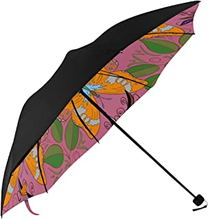 Travel Beach Umbrella Image Adult Coloring Books Tattoo Decorate Underside Printing Compact Umbrella Golf Vented Umbrella Compact Collapsible Umbrella Compact With 95% Uv Protection For Women Men