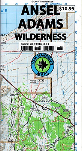 Ansel Adams Wilderness Trail Map: Shaded-Relief Topo Map